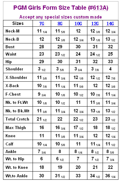 PGM Girls Dress Form Measurement Chart
