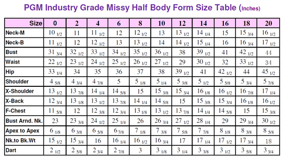 Female Dress Form Size Measurement New York