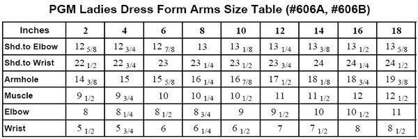 Dress Form Arms, PGM Dress Form Arms, Missy Form Arms, Arms Size Table, Magnetic Arms, Ladies Dress Form Arms