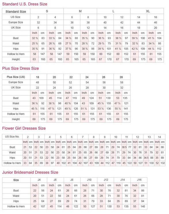 Wedding Gown Size Chart